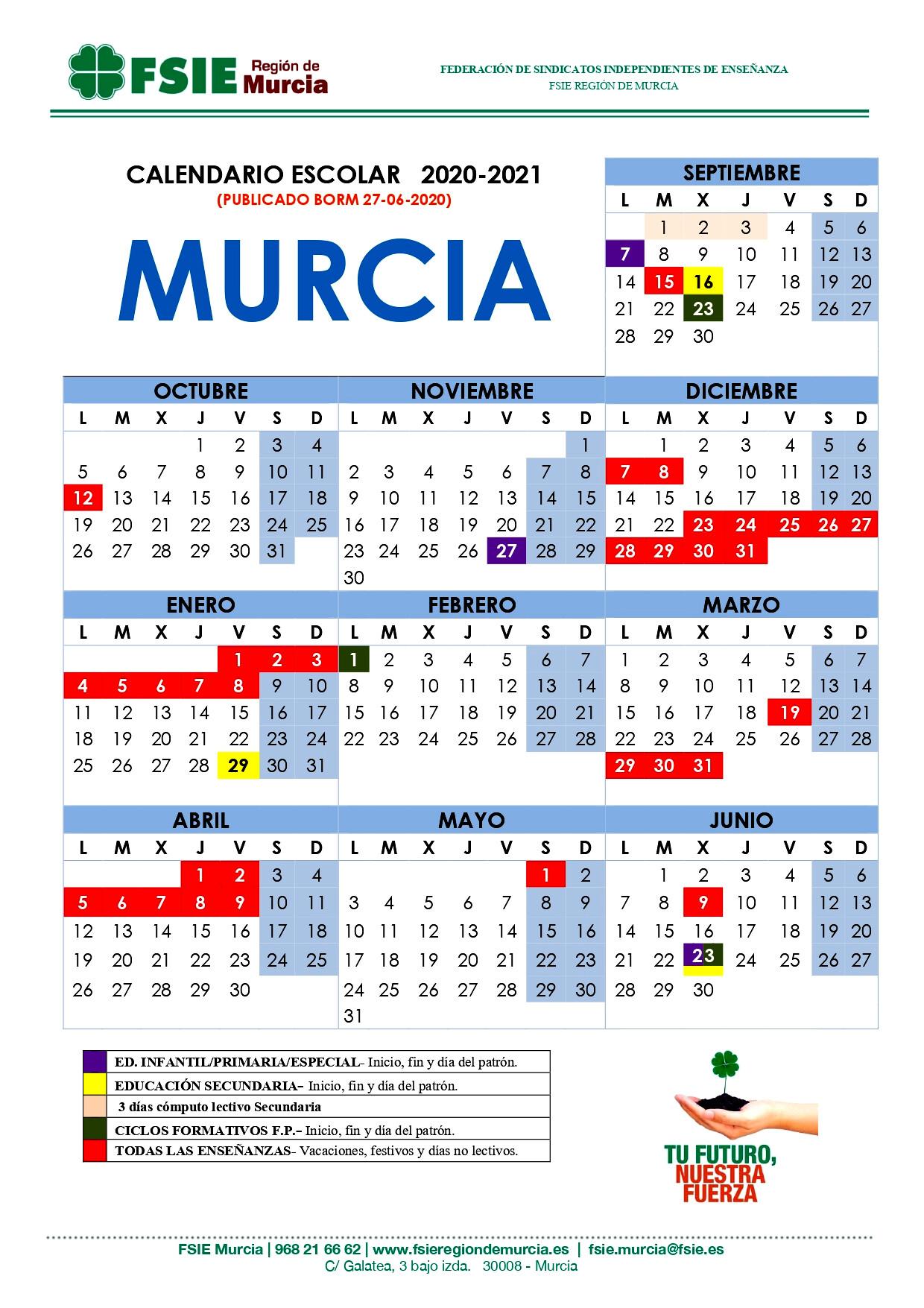 Calendario Escolar Murcia